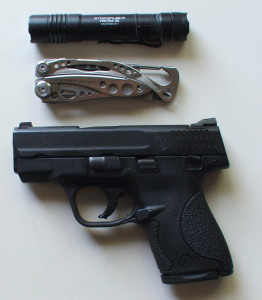 My personal daily carry: Flashlight, Leathernam tool, gun